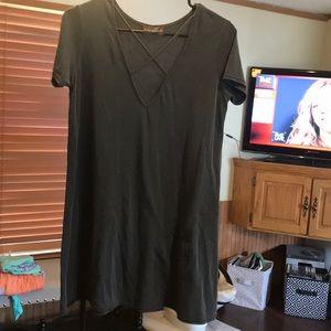 Dresses & Skirts - Dark Gray criss cross chest dress